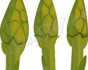 Digital Download Clipart – Vegetable Spring Asparagus JPEG and PNG files