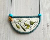 Bib necklace statement, crescent pendant textile embroidery necklace, embroidered pendant, fabric necklace, textile jewelry, short necklace
