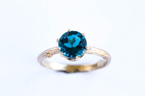 London blue topaz gold twig ring, 14k yellow gold twig engagement ring