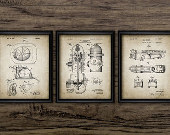 Firefighting Patent Print Set Of 3 - Fireman Art - Fire Rescue Wall Decor - Fire Truck Poster - Set Of Three Prints #791 - INSTANT DOWNLOAD