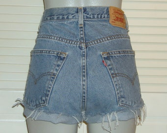 Vintage Levis 569 High Waisted Cut Off FESTIVAL Blue Jean Shorts~9~