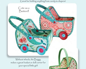 Baby Buggies Pattern by Aunties Two Patterns; AT604; Two Sizes; Baby Shower Gift or Table Centerpiece; Doll Carrier for kids; Sewing Pattern