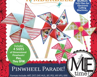 Pinwheel Parade M.E. Time Embroidery CD; KD633; Kimberbell; 4 Sizes; Embroidery Files; In The Hoop Project; Fabric Pinwheel Sewing Project