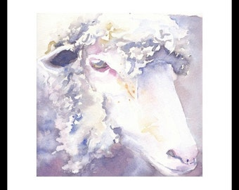 Portrait of a sheep. Original watercolour.