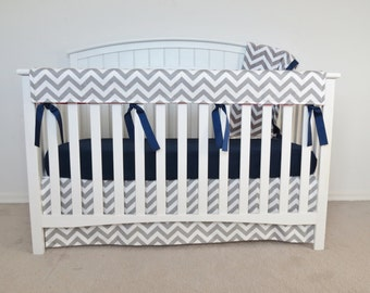 4 piece bumperless Crib Set - Chevron Crib Set, gray zig zag