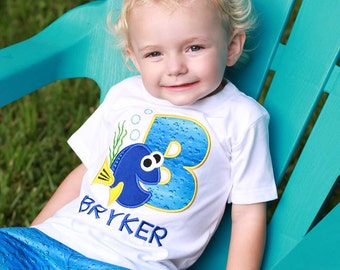 Boy Blue Fish Birthday Shirt with Embroidered Name