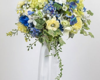 SILK FLOWERS WEDDING bouquets blue