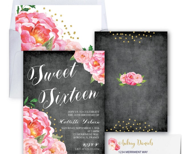 Sweet Sixteen Invitation // Birthday Invitation // Chalkboard // Flowers // Peony // Pink // Gold Glitter // BORDEAUX COLLECTION