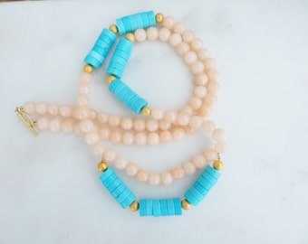 Peach Jade and Turquoise Necklace / Long Necklace / Layering Necklace / Jade Necklace / Turquoise Necklace