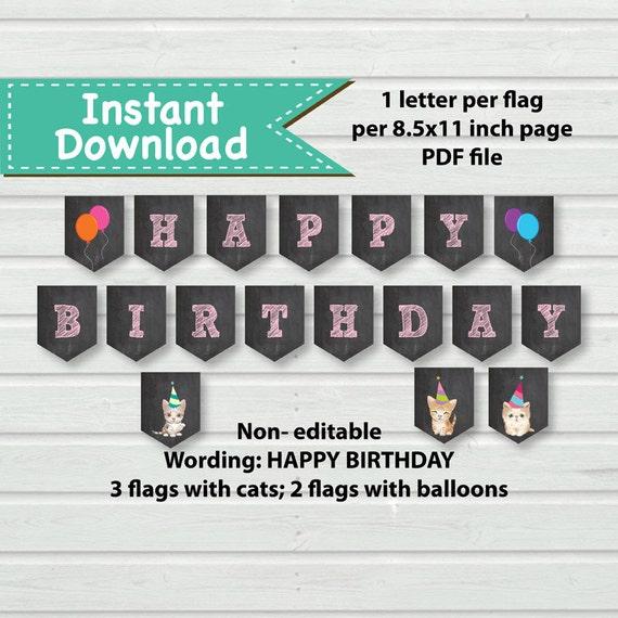Cat Birthday Banner: Kitty Cat Birthday Banner. Instant Download. Pink Chalkboard