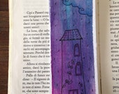 Rainy day bookmark with original illustration in watercolor and ink / Card bookmark / Write your own message on the backside
