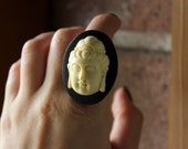 FLASH SALE, Buddha Cameo Ring, Buddha Head Ring, Buddhist Ring, Affirmation Jewelry, Adjustable Ring, Buddhist Gift, Antique Cameo Ring
