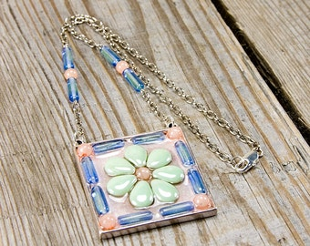 Aqua Peachy pendant, resin flower, Boho chic, pendant necklace, bohemian jewelry, boho chic necklace, big flower, spring colors, muted color
