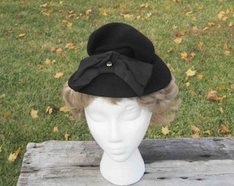 Vintage Woman's Black Wool Hat, With Ribbon/White- 3 Glass Stones Elenover Henry Pollax Inc. New York