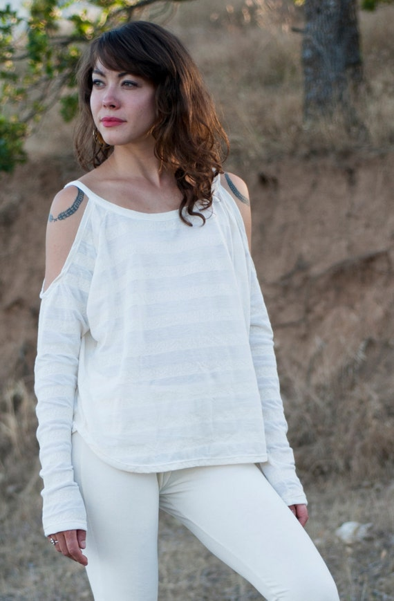 "Cheyenne ""Cold Shoulder"" Shirt in Cream Stripe for Womens Summer Fashion"