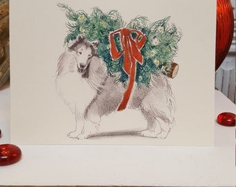 Rough Collie Dog Holiday Card