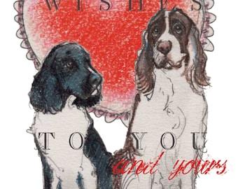 English Springer Spaniel Valentine Card