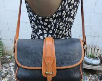 Dooney & Bourke 1980s Black Cross Body Bag Equestrian Purse All Weather Pebbled Leather Satchel Handbag Larger Size