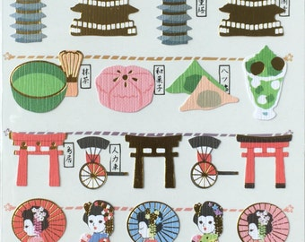 Japan theme stickers ,Kyoto sticker, travel stickers,kimono sticker, craft supply,scrapbooking supply