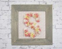 Floral Letter - Pink and Ivory Floral Monogram - Cottage Chic Girl's Nursery Decor - Pink Wood Letters - Framed Letters