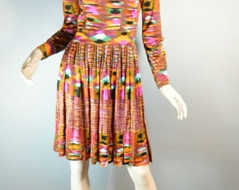 Psychedelic 60s Dress// Mad Men Dress// Colorful 60s Dress Mandarin Collar// Medium/Small Dress