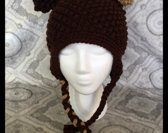 Brown Bear Beanie with Earflaps