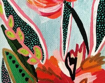 Canvas Art- Pop Floral // 3x12 Wall Art