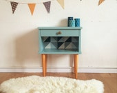 Mid century Bedside table, nightstand, mid century modern, vintage, color blue, model Balthazar