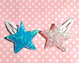 Star iridescent glitter hair clips