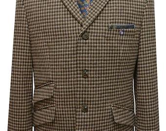 Mod,ska,skinhead tewwd Brown houndstooth 60's jacket For man