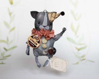 Primitive Folk Art Ornament Harvest Spun Cotton Cat Kitty