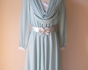 1980's Ursula of Switzerland Dusty Aqua Chiffon Cowl Embellished Dress/Mother of the Bride/Groom  # 16015