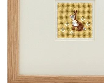 Framed beaded needlework - Lettice the Rabbit