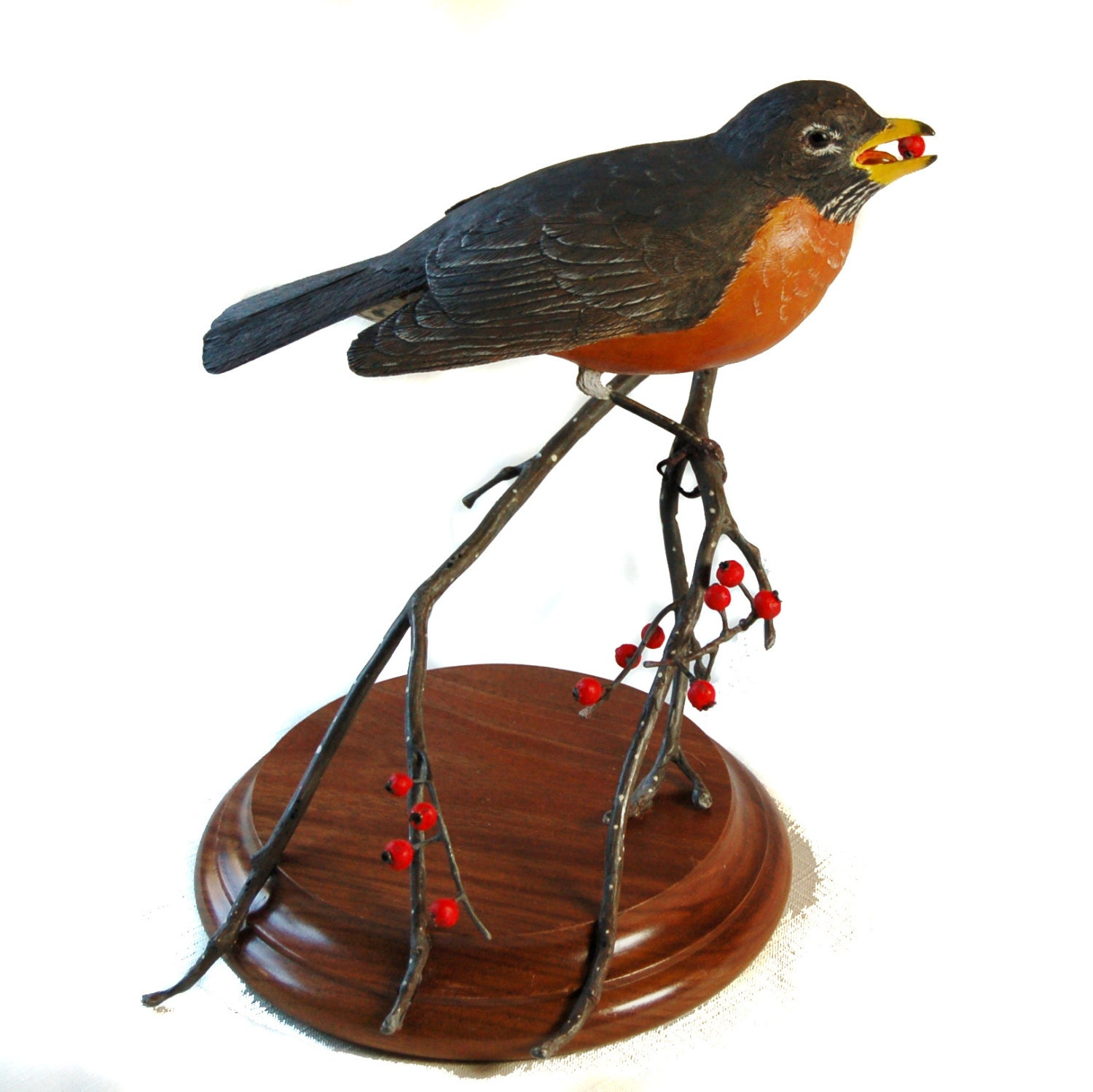 Bird carving wooden wood american robin