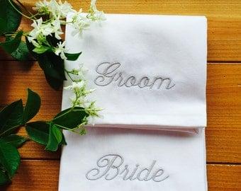 Groom and Bride napkins,wedding napkins,personalized wedding napkins,monogrammed wedding napkins,custom wedding napkin,wedding gift