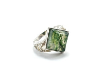 Silver Moss Agate Ring/ Silver Agate Ring/ Moss Agate Jewelry/ Square Stone Ring