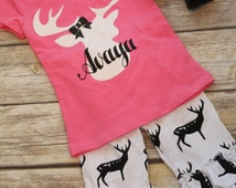 Baby Girls Toddler Deer Outfit, Tee, Monogram, Capri Pants, Headband, Country girl, Southern Girl, Baby deer outfit, deer shirt, girls deer