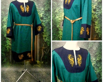 Viking Tunic Linen Tunic for Men Medieval Tunic with Embroidery LARP