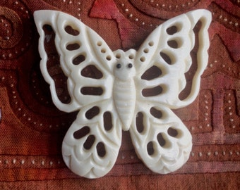 Large Carved Bone Butterfly Pendant - 1 5/8 Inches - 42 mm