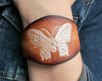 Leather Cuffs for Women, Women's GIFT, Tooled Butterfly Leather Cuff, Rustic Leather Bracelet, Butterfly Leather Cuff, Boho Leather Cuff,