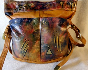 "Hand Painted Leather Handbag  "" Rose Tinted Dream""  Made in USA, Style Name Betty One of A Kind"