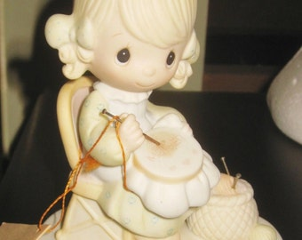 2 Precious Moments bells '81 grandma  '79 stitch girl doll  Jonathon David ENESCO vintage