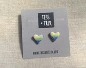 Abstract blue green and yellow Heart Stud Earrings / Ceramic Striped Stud Earrings / Porcelain Jewellery / Small Abstract Studs