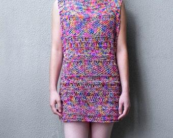 Handknit, Tunic ,  Dress, Summer Dress, Boho Dress, Mini, Multicolour, Cotton Dress, Woman, Sleeveless Dress, Red