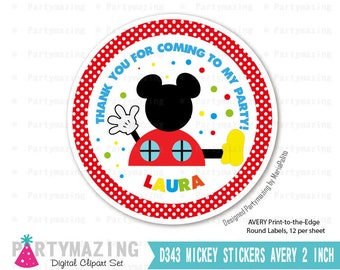 Personalized Mickey Tags, Printable Clubhouse Thank You Labels, Toppers, Stickers Labels, Party Favor Tag, Printable stickers -D343 HBMC1