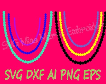 SVG Pearl Necklaces Cutting File DXF, AI Commercial Personal Use