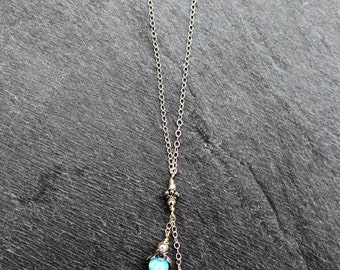 Blue Opal Necklace, Sterling silver.