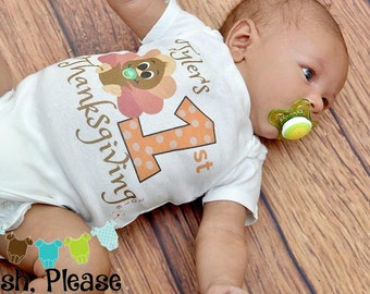 First Thanksgiving Outfit Onepiece Baby's First Thanksgiving Outfit One Piece Newborn Take Home Outfit Thanksgiving Outifit