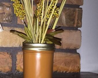 Fall Flower Arrangement in Caramel Colored Mason Jar