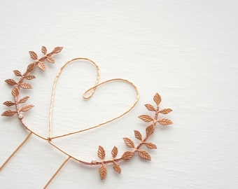 Rose gold heart wedding cake topper, Heart and leaves cake topper, Woodland cake topper, Rustic chic wedding, Woodland, Copper cake topper